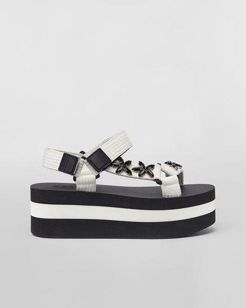 marni, flatform, platform, sandal, white ribbon wedge sandal colored glass flowers, shoe trend