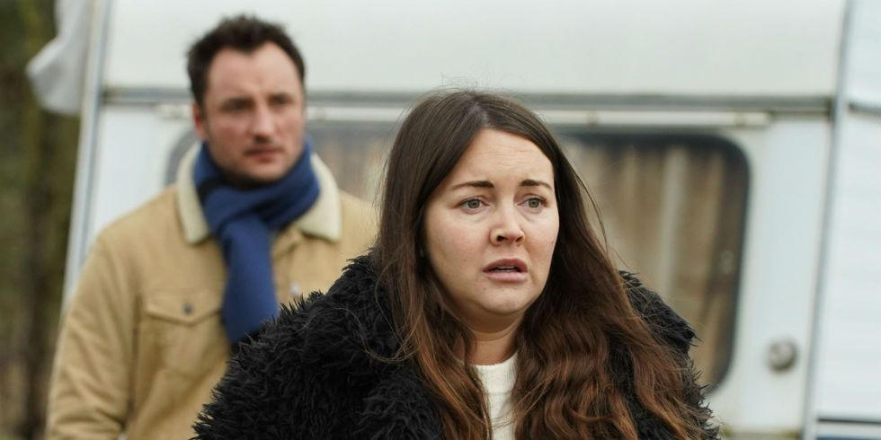 Martin and Stacey Fowler at the caravan park in EastEnders