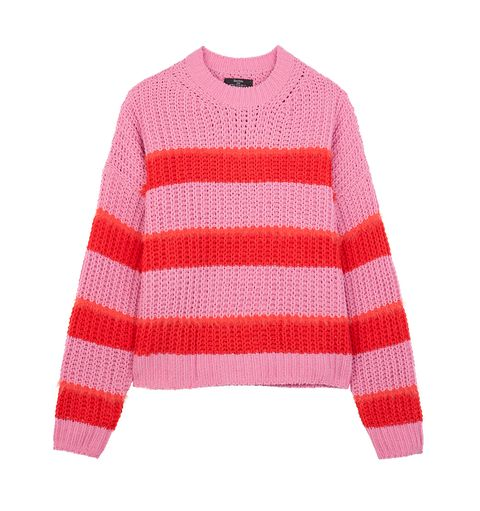 Clothing, Sweater, Pink, Sleeve, Woolen, Outerwear, Wool, Font, Top, Long-sleeved t-shirt,