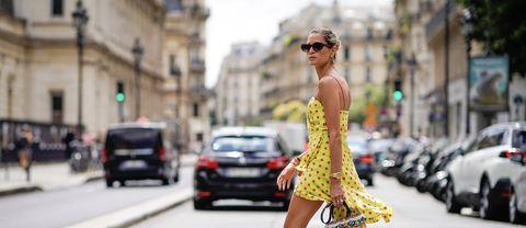 Street fashion, Fashion, Clothing, Yellow, Eyewear, Sunglasses, Footwear, Dress, Snapshot, Fashion model,