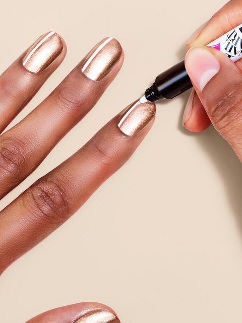 Nail polish, Nail, Manicure, Nail care, Finger, Cosmetics, Beauty, Hand, Peach, Service,