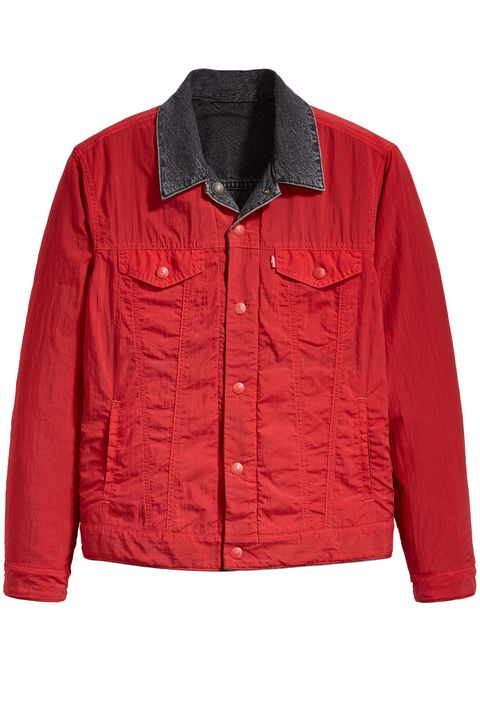 Clothing, Outerwear, Jacket, Red, Sleeve, Collar, Pocket, Top,