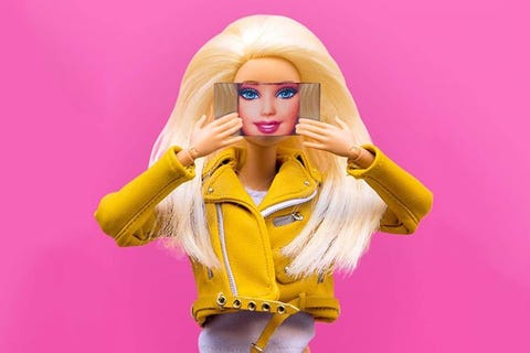 Pink, Toy, Yellow, Doll, Barbie, Blond, Action figure, Wig, Mouth, Long hair,