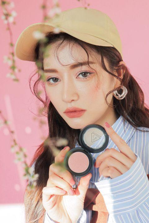 Face, Pink, Skin, Cheek, Beauty, Lip, Eye, Peach, Material property, Brown hair,