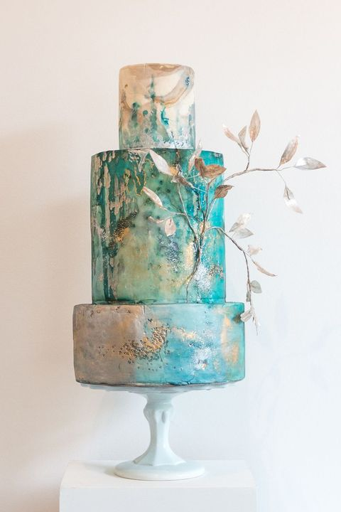 Blue, Aqua, Wedding cake, Turquoise, Teal, Wedding ceremony supply, Fondant, Cake, Turquoise, Cake decorating,