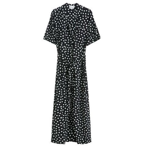 Clothing, Pattern, Day dress, Dress, Polka dot, Sleeve, Design, Pattern, Outerwear, Gown,