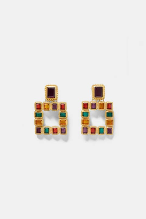 Fashion accessory, Rectangle, Jewellery, Earrings, Magenta, Cufflink, Square,
