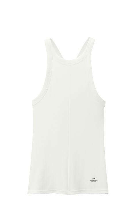 White, Clothing, Sleeveless shirt, camisoles, Outerwear, Sportswear, Undergarment, Neck, Undershirt, Dress,