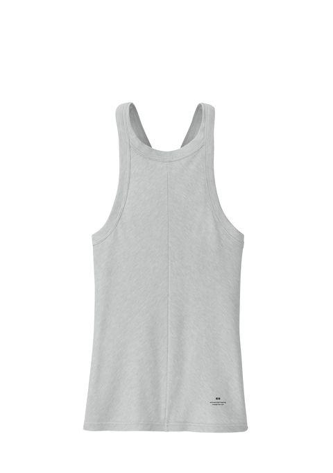 White, Clothing, Active tank, Sleeveless shirt, Outerwear, Sportswear, Grey, camisoles, Sleeve, Vest,