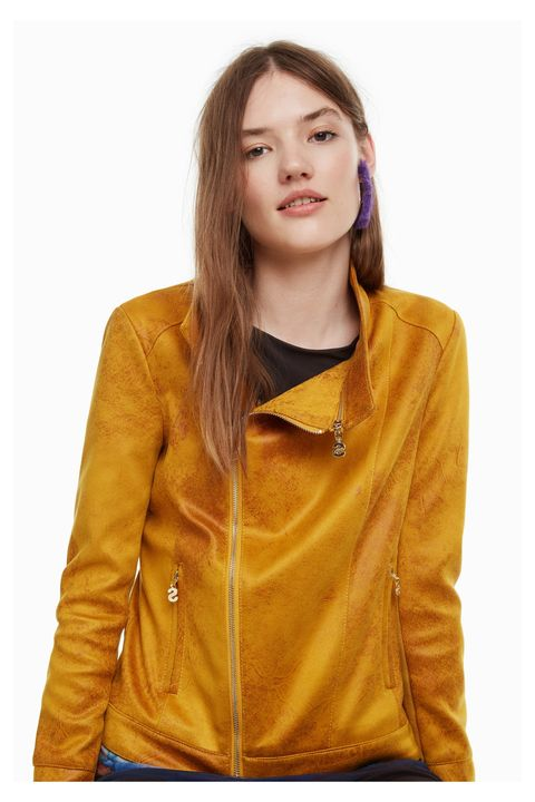 Clothing, Leather, Jacket, Yellow, Leather jacket, Outerwear, Sleeve, Textile, Top, Neck,
