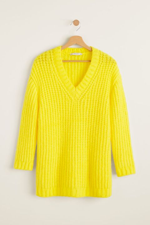 Clothing, Yellow, Sleeve, Outerwear, Neck, Blouse, Clothes hanger, Top, Sweater, Collar,