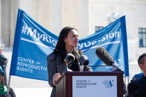 alexis mcgill johnson ceo, ppfa, speaks to abortion rights supporters organized by the center for reproductive rights during a rally at the us supreme court during the hearing of oral arguments in june medical services v russo on wednesday, march 4, 2020 in washington eric kaynecenter for reproductive rights