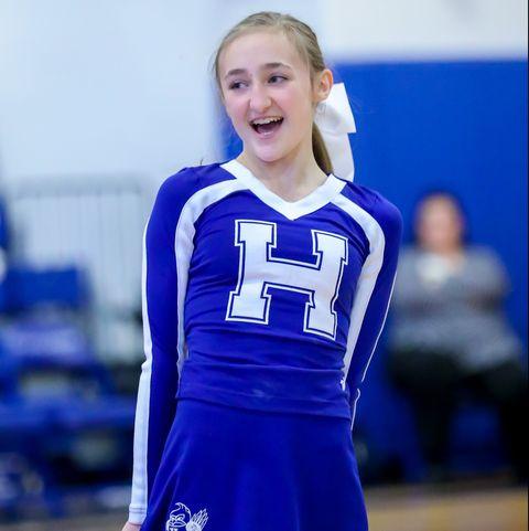 Cheerleading uniform, Blue, Team sport, Uniform, Sports uniform, Cobalt blue, Sports, Player, Tournament, Electric blue,
