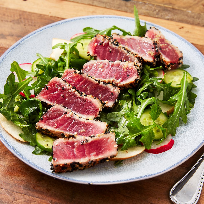Seared Ahi Tuna & Arugula Pear Salad
