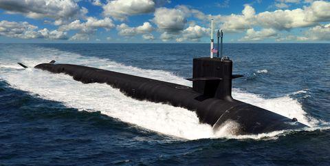 Submarine, Ballistic missile submarine, Cruise missile submarine, Vehicle, Watercraft, Ocean, Sea, Wave, Wind wave, Boat,