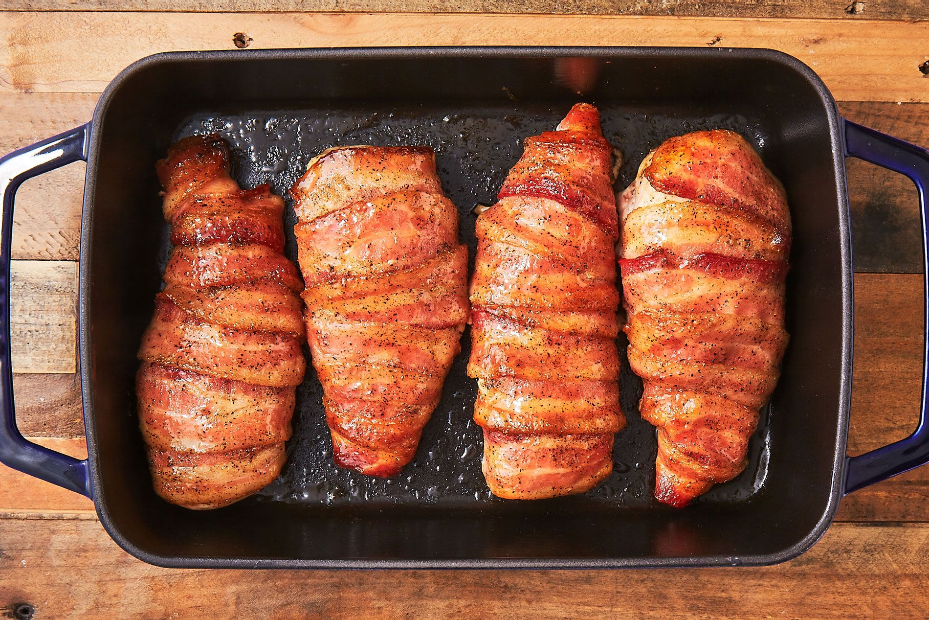 Pepper Glazed Bacon Wrapped Chicken