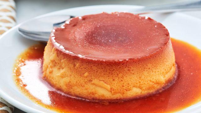 dish, food, cuisine, flan, dessert, ingredient, caramel, produce, gelatin dessert, baked goods,