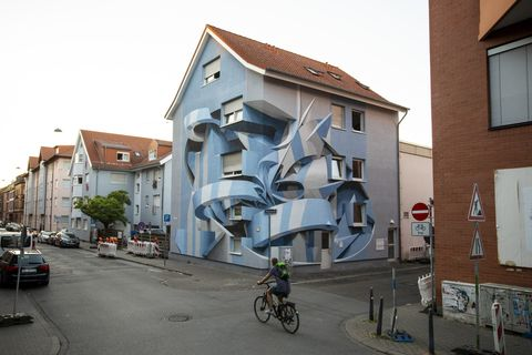 Casa-opera d'arte dello street artist italiano Peeta a Mannheim in Germania