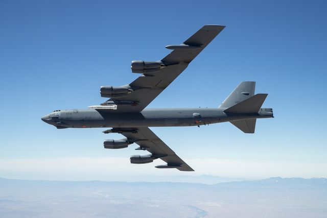 edwards air force base, calif june 12, 2019 b 52 out of edw carries arrw imv asset for its first captive carry flight over edwards air force base us air force photo by christopher okula