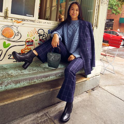 Clothing, Street fashion, Fashion, Footwear, Jeans, Tartan, Pattern, Leg, Sitting, Cool,