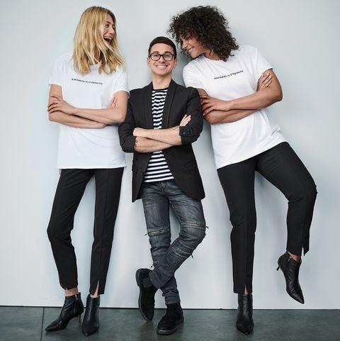 White, Fashion, Standing, Leggings, Fun, Photo shoot, Footwear, Jeans, Photography, Shoulder,