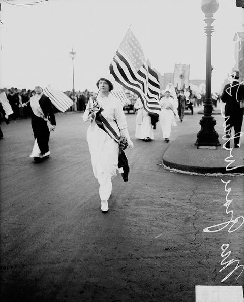 suffragette, marching, white, dress