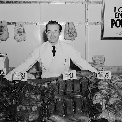vintage photos of grocery shopping   butcher stand