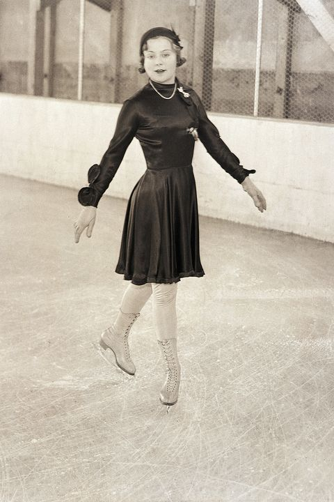 Photograph, Ice skating, Footwear, Snapshot, Skating, Figure skate, Standing, Recreation, Black-and-white, Dress,