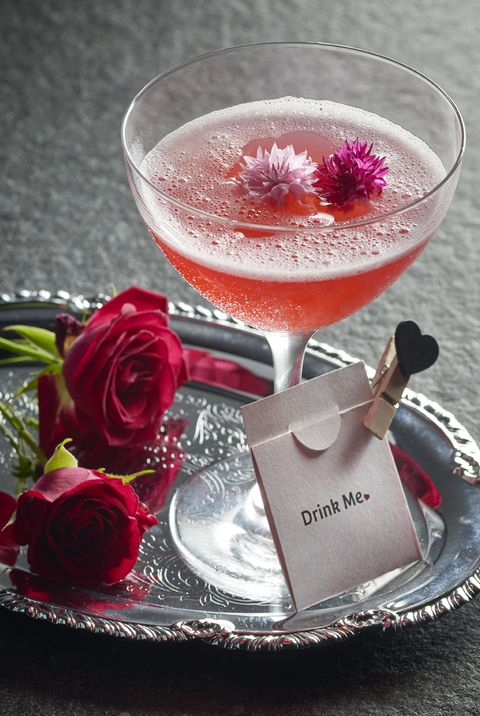 Food, Drink, Martini glass, Rose, Pink lady, Cocktail garnish, Garnish, Ingredient, Classic cocktail, Daiquiri,