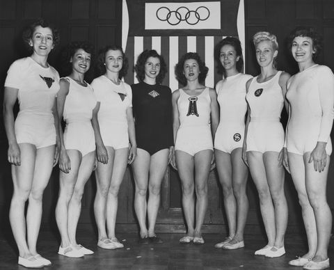 united states olympic womens gymnastics team american gymnast ladislava bakanic, american gymnast marian barone 1924 1996, american gymnast dorothy dalton 1922 1973, german born american gymnast meta elste 1919 2010, american gymnast consetta lenz 1918 1980, american gymnast helen schifano 1922 2007, american gymnast clara schroth 1920 2014, american gymnast anita simonis 1926 2011 pose for a group portrait ahead of the 1948 summer olympics in london, 1948 photo by fpgarchive photoshulton archivegetty images