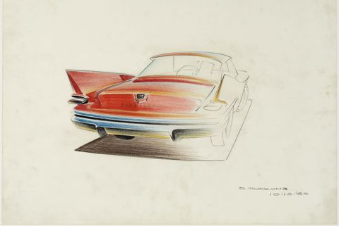 "1960 chrysler,"" 1956, dave cummins, american prismacolor on vellum collection of brett snyder"