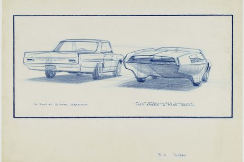 """61 pontiac catalina vs aerodynamic streamlined sedan,"" 1959, william porter, american prismacolor on vellum collection of bill and patsy porter"