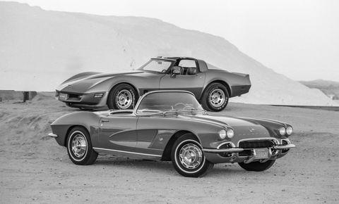 1962 chevrolet corvette and 1982 chevrolet corvette