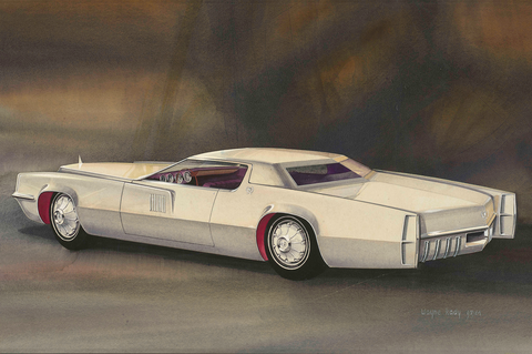 """rendering of proposed 1967 cadillac eldorado design,"" 1964, wayne kady, american watercolor, gouache, and ink on paper from the collections of the henry ford, dearborn, michigan"