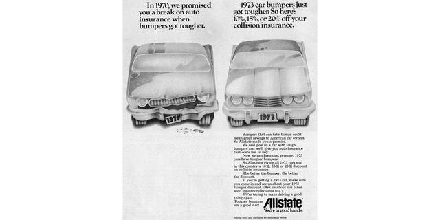 1973 allstate insurance 5mph crash bumpers magazine ad