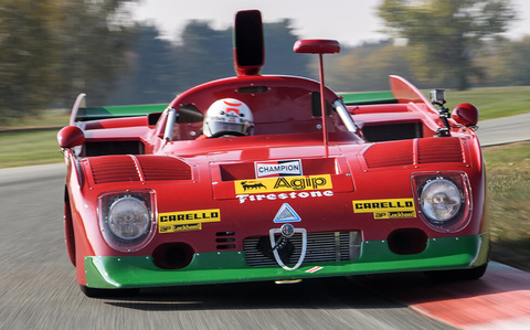 you can almost hear the flat 12 engine in the alfa tipo 33 tt12 screaming around the race track