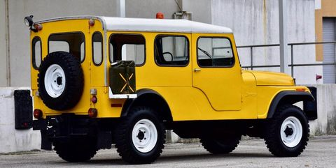 Land vehicle, Vehicle, Car, Yellow, Motor vehicle, Jeep, Jeep cj, Off-road vehicle, Hardtop, Classic car,