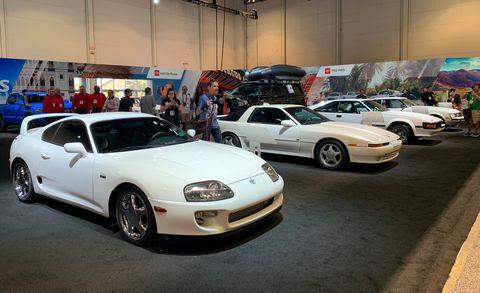 Land vehicle, Vehicle, Car, Auto show, Sports car, Toyota supra, Sedan, Toyota, Coupé, Performance car,