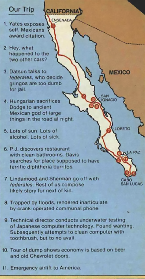 1983 escape from baja drive route and memorable moments