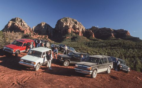 1990 ford explorer, 1990 gmc jimmy, 1990 isuzu trooper, 1990 jeep cherokee, 1990 mitsubishi montero, 1990 nissan pathfinder, and 1990 toyota 4runner