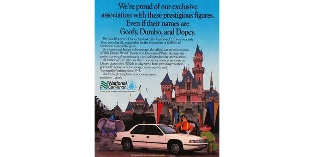 1990 national car rental chevrolet lumina disney world magazine ad