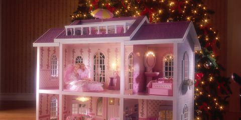 Pink, Dollhouse, Lighting, Toy, Christmas, Christmas decoration, Christmas ornament, House, Ornament, Tree,