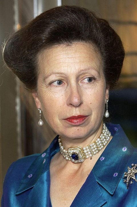 london, united kingdom   october 02  anne, the princess royal,  in a silk evening dress and jacket for a dinner at the royal victoria dock in east london for supporters of the princess royals trust for carers which she formed in 1991  photo by tim graham photo library via getty images