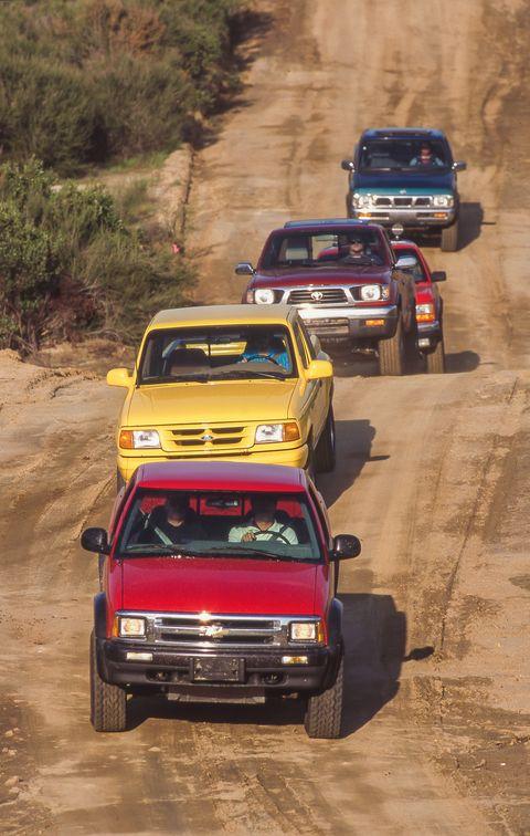 1995 chevrolet s10 zr2, 1995 dodge dakota sport, 1995 ford ranger splash, 1995 nissan trcuk se v6, 1995 toyota tacoma sr5 v6