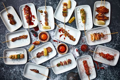 a selection of yakitori at humble chicken in soho