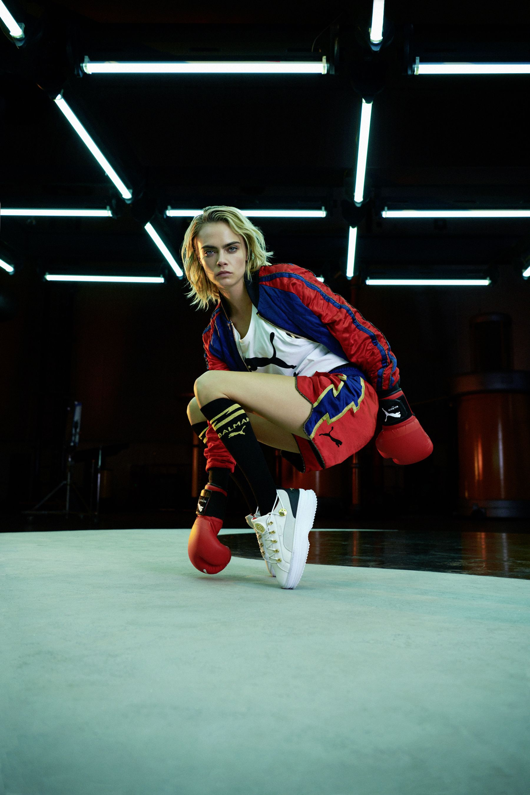 Cara Delevingne Hits the Boxing Ring for the Puma x Balmain Collaboration—See All the Looks