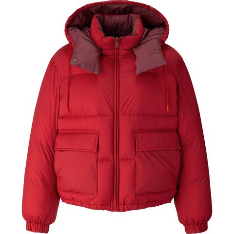 Jacket, Hood, Clothing, Outerwear, Red, Sleeve, Hoodie, Puffer, Zipper, Sweatshirt,