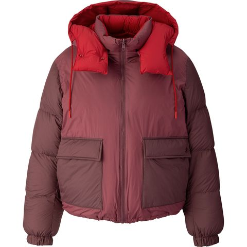 Jacket, Clothing, Outerwear, Hood, Red, Sleeve, Puffer, Top, Zipper, Fur,
