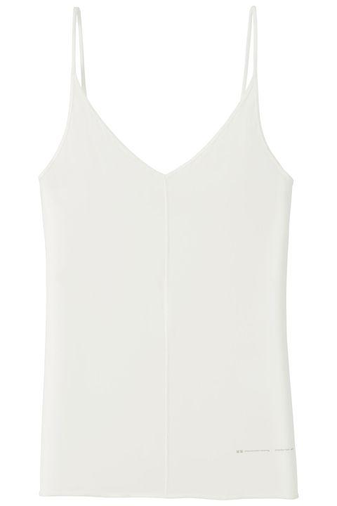 White, Clothing, Sleeveless shirt, camisoles, Undergarment, Undershirt, Outerwear, Sportswear, Vest, Shirt,