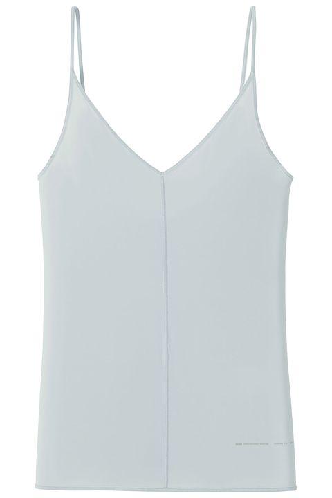 White, Clothing, Sleeveless shirt, camisoles, Undergarment, Undershirt, Sportswear, Outerwear, Neck, Crop top,